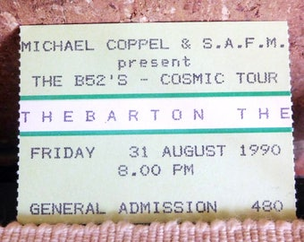 B52s 1990 concert ticket stub, Thebarton Theatre Adelaide, South Australia, collectable