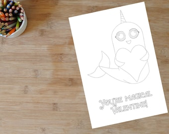 Valentine Narwhal Coloring Pages   Coloring   Color me   Digital Download