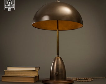 Dome Shade Aged Brass Table Lamp | Aged Brass | Desk Lamp | Edison Light  Bulb