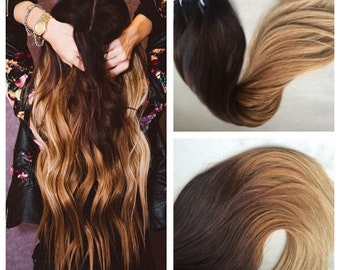 5 Star Ombre Cuticle European Remy Human Hair Double Wefted Clip in Hair Extensions 180grams