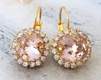 Blush earrings,Blush pink earrings,Blush bridal earring,blush wedding,Swarovski earrings,drop earrings,Bridesmaid earrings,pink earrings