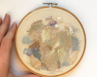 Original Ever After Wall Art Artwork Home Decor Needlework Textiles Textured Vintage Wood Hoop Abstract Modern Canvas Mixed Media
