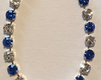 Made with Swarovski Crystal Necklace - 8mm Classic Clear and Sapphire Blue Crystals