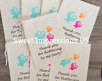 Butterfly Party Theme 5x7 Muslin Party Favor or Keepsake Bags