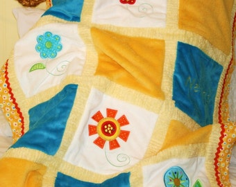"""Appliqued """"Fabulous and Funky Flowers""""  Cuddly Baby Blanket"""