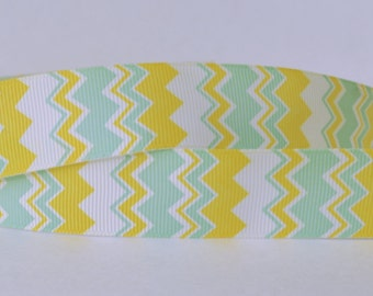 "Yellow and Sea Green Aztec Pattern Bold Chevron Zig Zag Printed Grosgrain Ribbon 1"" Wide AZ600"