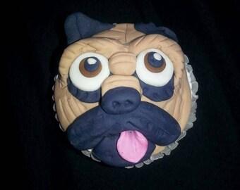 Fondant pug cupcake topper