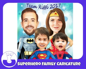 Superhero Family Caricature from photo as Family portrait, Father's Day gift!!!