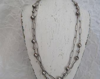 """Sterling Silver 925 Extra Long 24"""" Necklace Link Ball Made in Italy Milor"""