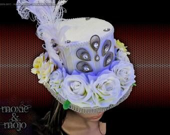 Burning Man Hat, light-up hat, white roses, burningman hat, Mad Hatter Top Hat, LED Hat, Victorian hat, Wedding Hat, Playa Bride, burner