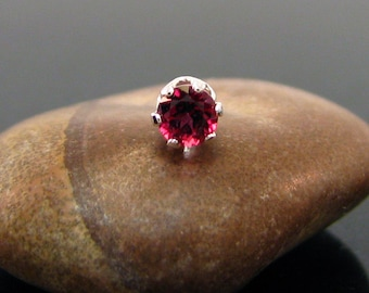 Single earring with red topaz, single earring stud, tiny earring with genuine red topaz 3 mm