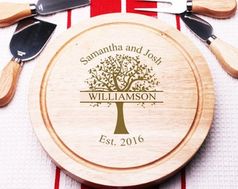 Tree Engraved 5 pc Cheese Board Gourmet Set (PPDC12)