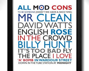 THE JAM - All MOD Cons Limited Edition Unframed A4 Art Print with Song Titles