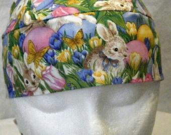 Bunny Skull Cap, Chemo Cap, Hats, Handmade, Head Wrap, biker, Helmet liner, Alopecia, Easter, spring, Hair Loss, Surgical Cap, Bald, Flowers