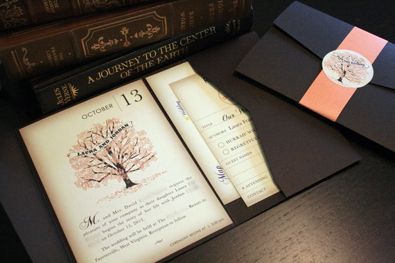 Sample Fall Vintage Book Wedding Invitation Pocketfold