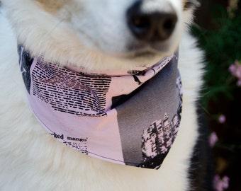 "Dog Bandana Black Script and Pink  Medium Double Sided - Cotton - Dog Scarf -Dog Clothing - Dog Apparel - Puppy Bandana  9"" by  30"""