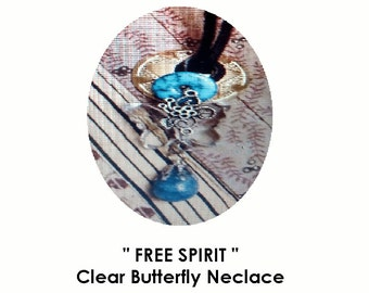 Spare Parts Free Spirit Clear Butterfly Necklace