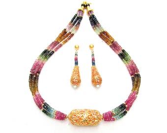 Watermelon Tourmaline Multistrand Necklace with 22k gp Focal Bead and Matching Earrings - Natural Faceted Gemstones