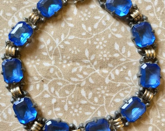 Vintage 1920s/1930s Art Deco Cornflower Blue Crystal Bracelet