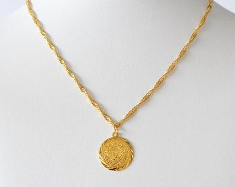 Middle East Coin Necklace Pendant Arabic Jewelry 24k Gold Plated Chain Necklaces Size 16 - 30 Inches - 4 Coin Sizes