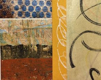 Il y a une autre façon - Collage Original avec dessiné à la main et des papiers peints 4 x 4 sur 5 x 5» support