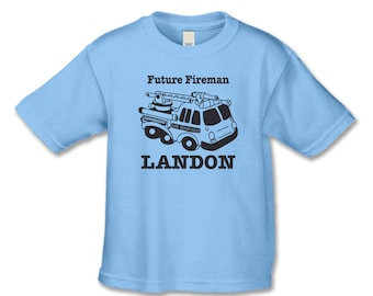 Personalized Fire Truck T-Shirt or Infant One Piece - Future Fireman T-Shirt - Fireman Themed Birthday - Fire Truck Party DL