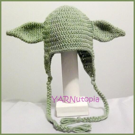DIGITAL DOWNLOAD: Crochet PATTERN for Yoda Earflap Hat Size