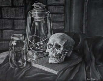 Skull, Lamp, Jar Original Charcoal Still Life Drawing