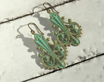 Art Deco Patina Earrings Verdigris