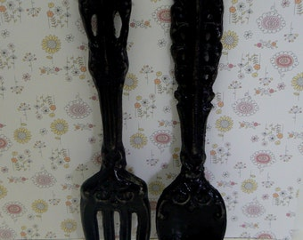 Fork Spoon Set Wall Decor Shabby Elegance Classic Black Rustic Weathered  Distressed Paris Kitchen Home Decor Oversized Country Chic Wall Art
