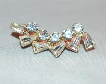 Large Rhinestone Brooch, Clear Sparkling Silver Tone, Vintage Old jewelry