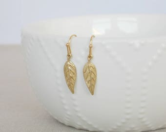 Gold Leaf Earrings, Gold Dangle Earrings, Gold Drop Earrings