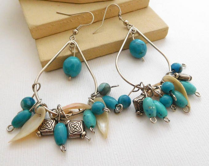 Featured listing image: Retro Faux Turquoise Mother Pearl Silver Bead Cluster Boho Fringe Earrings C17