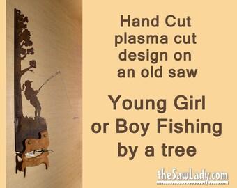 Metal Art Rustic plasma cut Young Girlor Boy Fishing near a tree hand saw wall decor- Made to Order