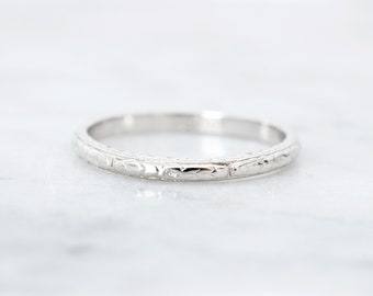 Antique Wedding Band, 1920s Floral Engraved Eternity Band, Thin 18k White Gold Wedding Ring, Art Deco Bridal Stacking Jewelry, Size 7.75