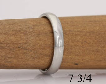 Brides gold band, 14k white gold band, size 7 3/4, or custom sizes 4 to 7 3/4, #723.