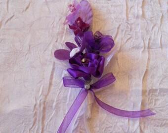Men of purple wedding lapel pin / white