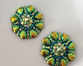 Green dragon pasties, gold accents