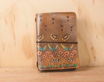 Midori Notebook - Travel Journal with Flowers and Seeds - Handmade Leather Fauxdori in the Seeds Pattern in antique brown
