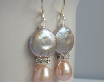Grey and Pale Pink Freshwater Pearl and Rhinestone Crystal Earrings Bridesmaids Light Blush and Silver Beaded Jewelry