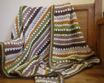 Cosy Stripe Crochet Blanket Throw - Made to order and can be personalised