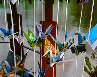 Colorful Origami Cranes Garlands 10 Strands