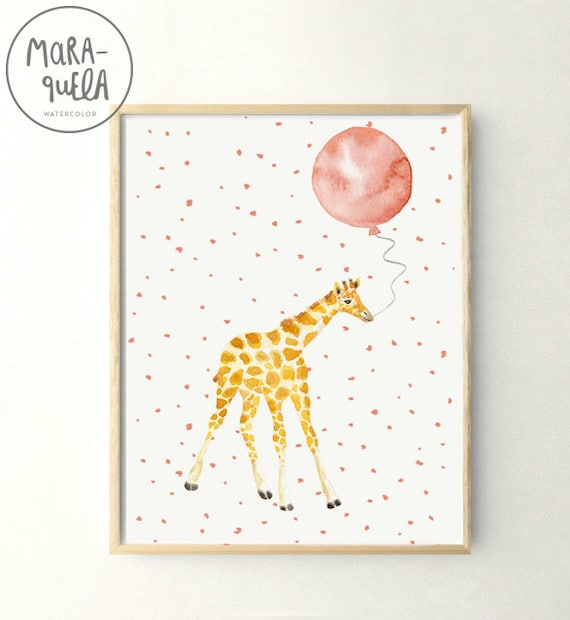 Jirafa con globo / Little GIRAFFE Peach Pink balloon Watercolor