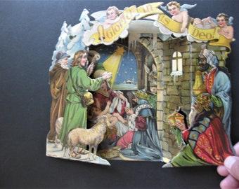 Vintage Foldout Nativity Scene, Made in Germany