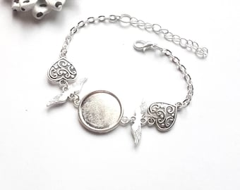 x stand silver plated bracelet for 18 mm cabochon, angel wing, heart engraved