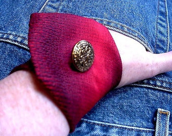 Red Necktie Wrist Cuff, Silk Wide Neck Tie Bracelet, Eco Chic Original Handmade Upcycled Mens Tie Wristband itsyourcountry