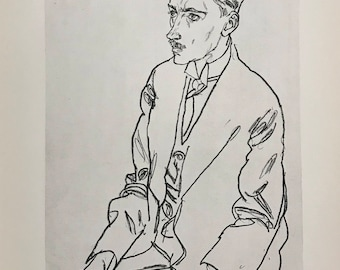 "Egon Schiele ""Dr. F. M. Haberditzl"" from Egon Schiele-As a Draughtman by Otto Denesch, 1950, 9.25 x 13.5 inches"