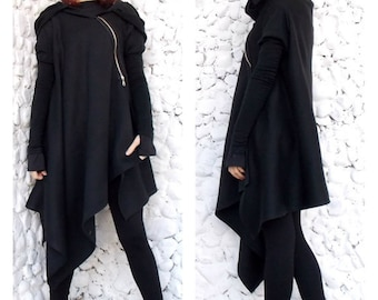 Asymmetric Extravagant Black Coat,  Black Extravagant Coat, Loose Black Hooded Jacket, Black Hoodie TC03 by TEYXO