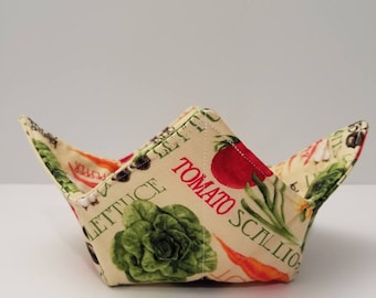 Microwave bowl cozy, veggies galore, bowl holder, hot or cold, all cotton