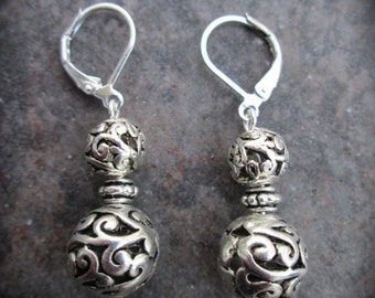 Silver filigree ball earrings with choice of sterling silver or silver plated leverback closures